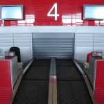 Check-in conveyor safety shutter