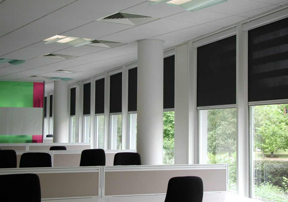 1% open Mermet glassfibre fire proof fabric  in an office environment